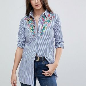 NWT Glamorous Embroidered Tunic Button Down